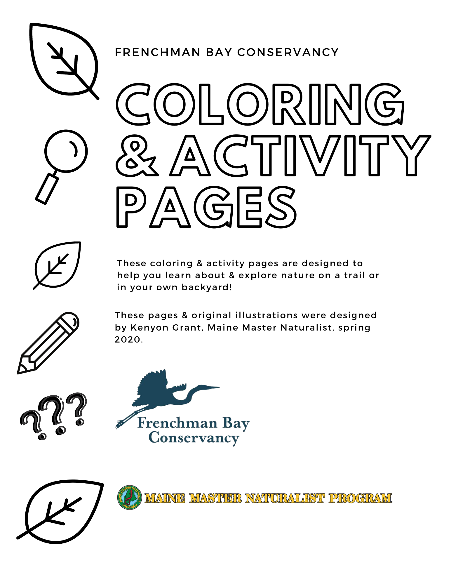 Fbc Coloring Activity Pages Frenchman Bay Conservancy